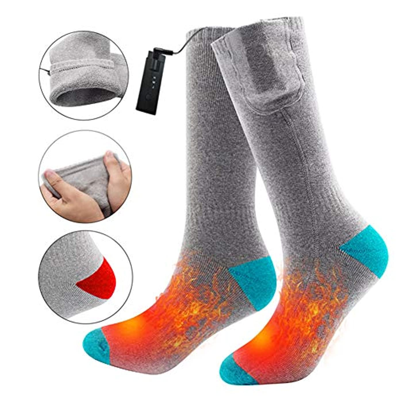 汚染する旋回遠征電気温水靴下 3.7 V 2200mah 充電式バッテリーサーマルソックス男性女性、屋外の屋内冬の活動のようなキャンプのハイキングに乗ってフットウォーマー