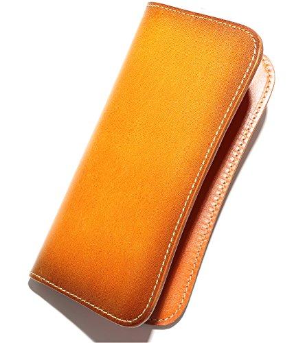 【 薄くてかさばらない - シンプルな革財布 】 熟練した技術を誇る革職人が作る 長財布 メンズ 本革 レザー 薄型 財布 ライトブラウン 2-1-5