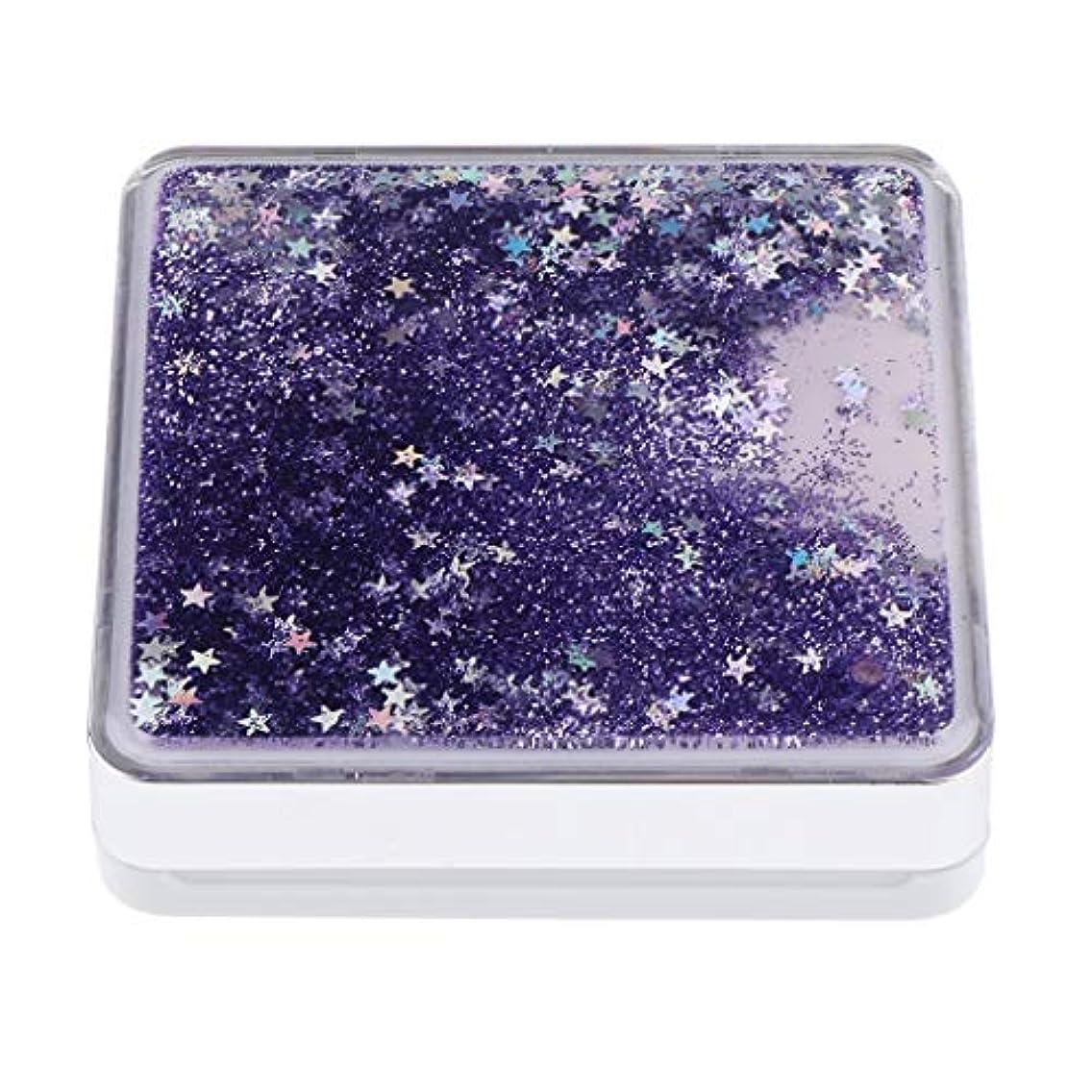 信念ブレーキ首謀者エアクッションケース パフ 化粧鏡 ミラー付き コンパクト 旅行小物 化粧品ケース 3色選べ - 紫