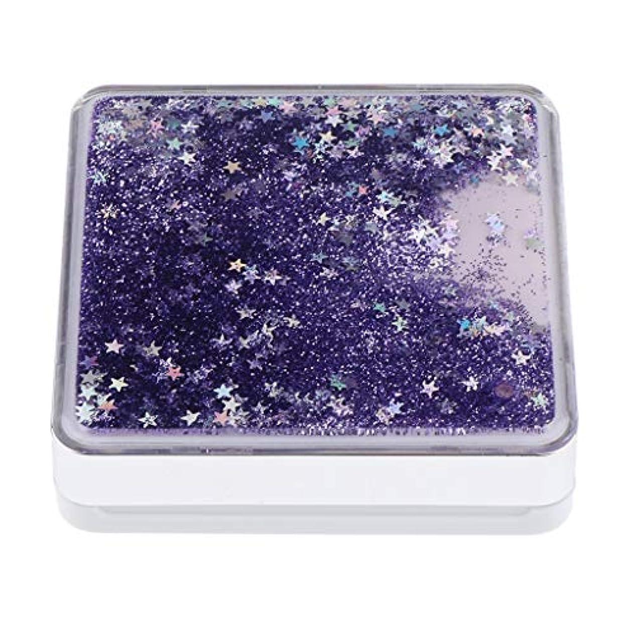 おもてなし男らしさコンパニオンエアクッションケース パフ 化粧鏡 ミラー付き コンパクト 旅行小物 化粧品ケース 3色選べ - 紫