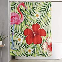 熱帯の鳥ピンクフラミンゴと シャワーカーテンのカーテン防水浴室のパーティションのインストール厚いインストール便利な150 X 180 Cm