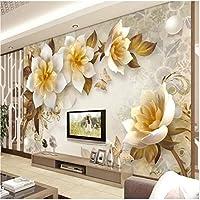 Weaeo カスタム3D壁画の壁紙北欧のブルーヴィンテージの手描きの花の鳥油絵の壁紙のベッドルーム壁画デパレード-350X250Cm
