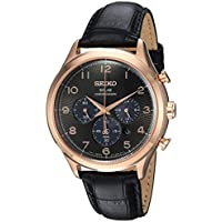Seiko Men's Solar Chronograph Stainless Steel Japanese-Quartz Watch with Leather Calfskin Strap, Black, 21 (Model: SSC566)