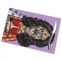 SuperIE ランチョンマット 6枚セット 猫 ネコ キティ ニャー 王 プレースマット テーブル 撥水 防汚 断熱 丸洗い お手入れ簡単 滑り止め 摩擦 耐える 食卓飾り 雰囲気 家庭用 レストラン用 45cmx30cmx6pcs