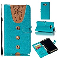 MGVV Huawei Mate 10 Wallet Case for Girls, PU Leather Flip Wallet Case Cover Kickstand with Card Slots and Wrist Strap for Huawei Mate 10 Blue