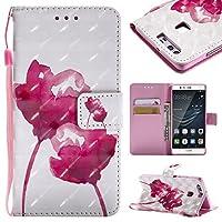 Lomogo Huawei P9 ケース 手帳型 耐衝撃 PU レザーケース 財布型 カードポケット スタンド機能 マグネット式 ファーウェイP9 手帳型ケース カバー 人気 - KATU25906#1