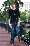 (フルールドリス)Fluer de lis Vネック ボタン アシンメトリー カットソー トップス tシャツ シャツ ロンT ロング 長袖 インナー カジュアル アパレル メンズ ファッション 服 8955 (L, ブラック)