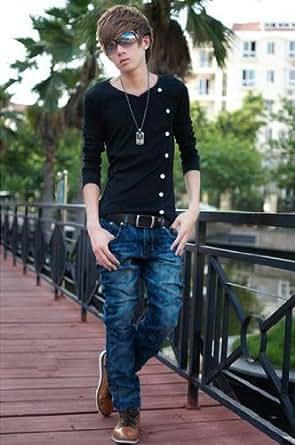 (フルールドリス)Fluer de lis Vネック ボタン アシンメトリー カットソー トップス tシャツ シャツ ロンT ロング 長袖 インナー カジュアル アパレル メンズ ファッション 服 8955