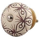 IndianShelfセラミックハンドメイドキャビネットノブワードローブハンドルIndian PullsクリームブラウンFloral Etchedオンライン 10 Knobs of 1.5″ CK-1471-3-10