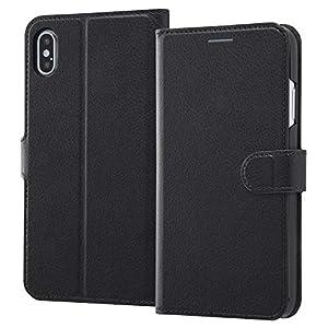 レイ・アウト iPhone XS Max ケース 手帳型 (ICカード収納ポケット×4 / スタンド機能) マグネット 2トーン ブラック / ブラック