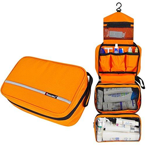 バスルームポーチ トラベルポーチ 旅行ポーチ フック付き 洗面用具入れ 小物整理 トラベル用品 (オレンジ)