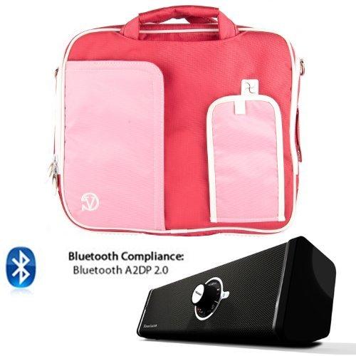 PINDAR Nylon Messenger Shoulder Carrying Bag (Pink-Trim) For ACER A200 A211 A210 A500 A501 A510 A700 ICONIA W500 Tablet + Bluetooth Speaker [並行輸入品]