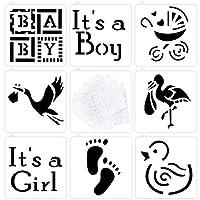 Astra Gourmet ベビーシャワー ベビークッキーとカップケーキステンシル 8個セット - It's a Girl、It's a Boy Baby、Carriage、Footprint、Flamingo、Duck Patterns、半透明