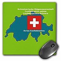 3drose LLC 8x 8x 0.25インチマウスパッド、マップ、スイスの国旗with Swiss Confederation Printed英語で、ドイツ語、フランス語、イタリア語( MP _ 47331_ 1)