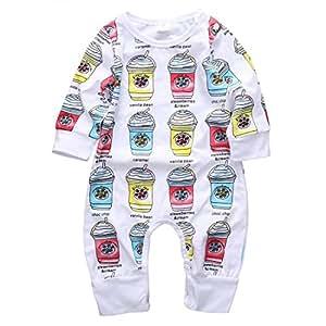 幼児服 男の子 女の子 ジャンプスーツ 長袖 アイスクリーム柄 (80(6-12ヶ月))