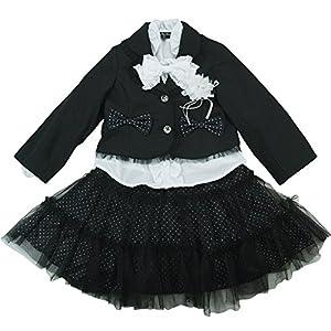 【オールシーズン】 formal wear(フォーマルウエア)女児フォーマル3点スーツアンサンブル 120cm /ブラック NO.BF-49603