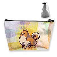 Camp Ursula かわいいポメラニアンゴールドスポット犬愛好家 小旅行メイクアップポーチ 化粧品収納オーガナイザーバッグ