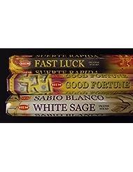 Fast Luck Good Fortuneホワイトセージ60裾Incense Sticks 3香りサンプラーギフトセット