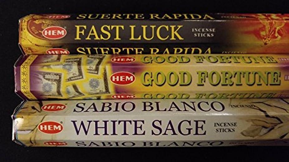 踊り子楽しませる運賃Fast Luck Good Fortuneホワイトセージ60裾Incense Sticks 3香りサンプラーギフトセット