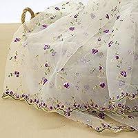 IRIZ130*90CMローズ三次元花柄刺繍オーガンザレースファブリック生地DIY (パープル)