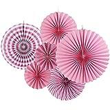 SUNBEAUTY 6個セット 3つサイズ ピンク ペーパーファン ペーパー飾り付け 扇フラワー 扇子 (ピンク系)