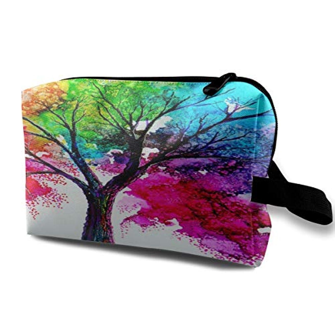 つらい通行人細分化するWatercolor Autumn Tree Art 収納ポーチ 化粧ポーチ 大容量 軽量 耐久性 ハンドル付持ち運び便利。入れ 自宅?出張?旅行?アウトドア撮影などに対応。メンズ レディース トラベルグッズ