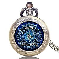 メンズ懐中時計 消防士ウォッチ 古いアンティークブロンズ懐中時計 チェーンネックレス付き 男性へのユニークなギフト