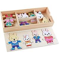 Kawaii Cartoon 4 pc Rabbit BearドレスChangingジグソーパズル木製玩具ギフトforキッズ – waymine マルチカラー Way32467