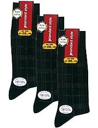 (ワールドリズム)WORLD RHYTHM メンズ 表糸 綿100% 格子 チェック 柄 クルー ソックス (日本製 紳士 靴下) 3足セット