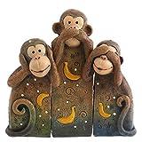 (サムシング・ディファレント) Something Different 三猿 見ざる言わざる聞かざる 樹脂 オーナメント 置物 雑貨 (ワンサイズ) (ブラウン)