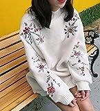 (ベコ) Beco レディース ワンピース ニット ミニ丈 ゆったり 花 刺繍 白 ピンク (白)