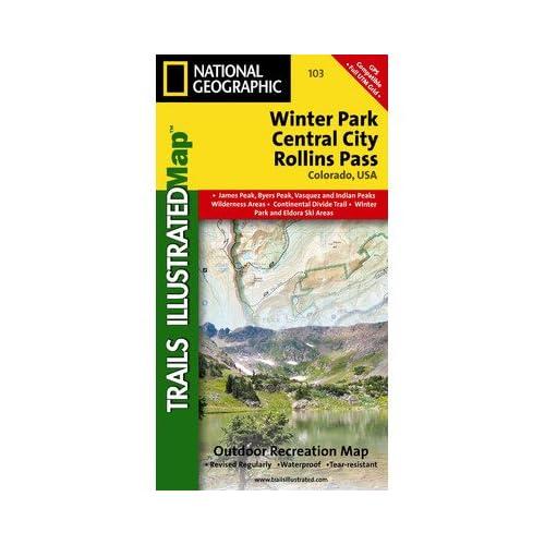 コロラド - ウィンターパーク - セントラルシティ・ロリンズのパスのナショナルジオグラフィックTI00000103地図