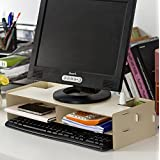 COM-SHOT 【 すっきり 収納 】 木製 パソコン スタンド 2段 PC デスク キーボード マウス 作業 効率 化 簡単 組立 おしゃれ デザイン 【 ホワイト 】 MI-MONI01-WH