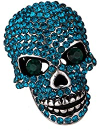 YACQ Angel Jewelry Women's Crystal Bling Skull Biker Pin Brooch