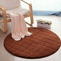 カーペット滑り止めポリエステルサンゴベルベットモダンなシンプルなリビングルームの寝室のソファラウンドカーペットマルチカラーオプション (Color : CHOCOLATE, Size : DIAMETER 160CM)
