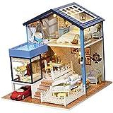 Baosity 1/24 DIY Wood 3D Miniature Dollhouse Model Kit American Style Seattle Villa