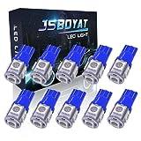 JSBOYAT T10 LED バルブ ブルー 5連SMD 5050 高輝度 ナンバー灯 ルームランプ ライセンスランプ メーターランプ ウィンカーランプ ポジションランプ 194 168 2825 車内ランプ置換 12V 1W 10個セット 1年間保証