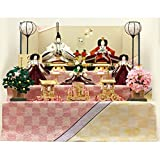 東玉 雛人形 三段飾り 「優雅雛」 衣装着 十二単 五人飾り 間口90×奥行80×高さ80(cm) 12totama-6410