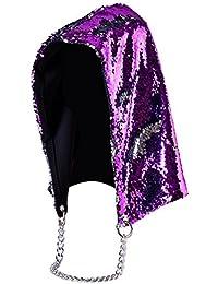 RaiFu ハット 帽子 レディース ユニセックス 男女兼用 ファッション マーメイド 美人魚 マジカル リバーシブル スパンコール キラキラ キャップ フード ドレスアップ フリーサイズ