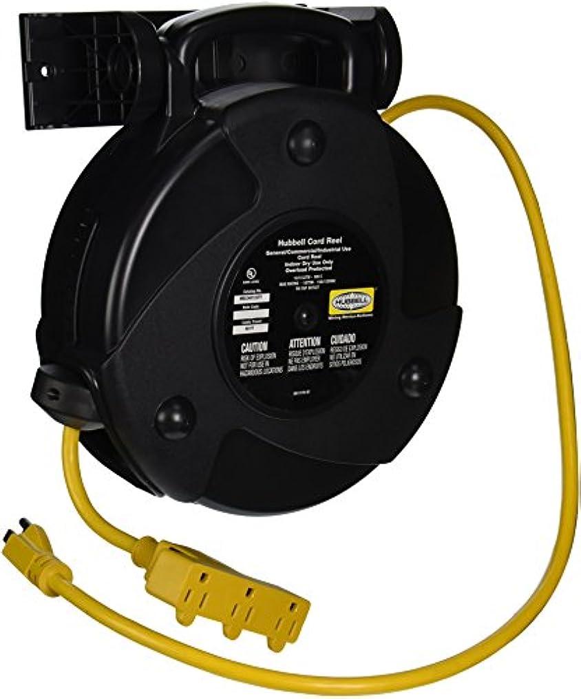 受け継ぐ後方に裂け目Hubbell Wiring Systems HBLC40123TT Commercial Cord Reel with Triple Tap Outlet, 40' Cable Length, 12/3 SJTW Cable Type, 1875W, 15 Amp, 125VAC, Black by Hubbell Wiring Systems