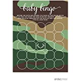 (Cards Bingo) - Andaz Press Woodland Camouflage Boy Baby Shower Collection, Games, Activities, Decorations, Baby Bingo Game Cards, 20-pack
