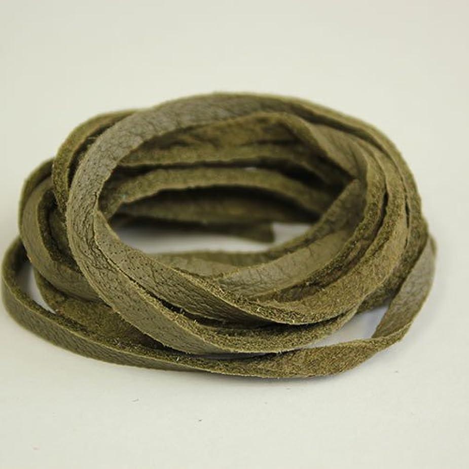 銅靴下小石ディアレース(鹿革)巾3mm 長さ約100cm オリーブ