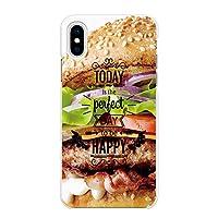 Ruuu iPhoneX iPhone XS 兼用 ハード スマートフォン スマホ ケース カバー iPhoneXS to be HAPPY ハンバーガー タイポグラフィ 食べ物 写真 バーガー 面白い ネタ おもしろ ユニーク おしゃれ かわいい