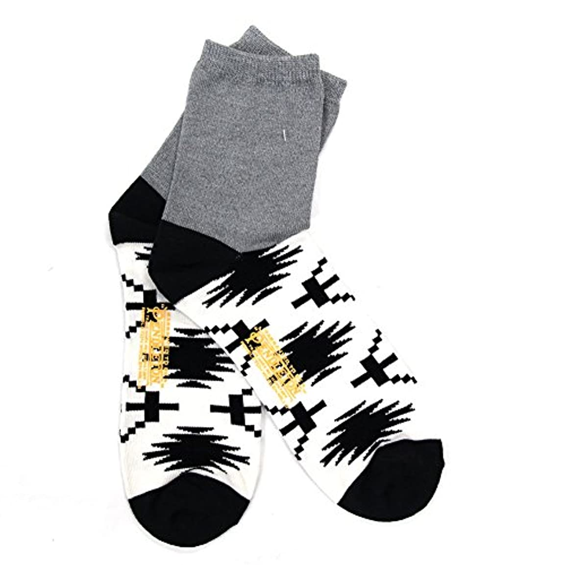 宅配便暴行信者【PENDLETON】(ペンドルトン) 2-PANEL SOCKS ソックス 靴下 メンズ ネイティブ柄 GREY