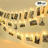 LEDストリングライト 20写真クリップ イルミネーションライト DIY壁飾り 8モード リモコン付き ウォームホワイト (20LED,3.2m)