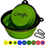 Zenify Dog Bowl Food & Water Feeder 2 Pack - Extra Large 1000ml 17.8cm & Small 400ml 12.7cm Collapsible Portable Foldable Tr