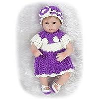 NPKDOLLシミュレーションRebornベビー人形ソフトSiliconeビニール18インチ45 cm Lifelike Vivid Toy Boy Girlパープルドレス