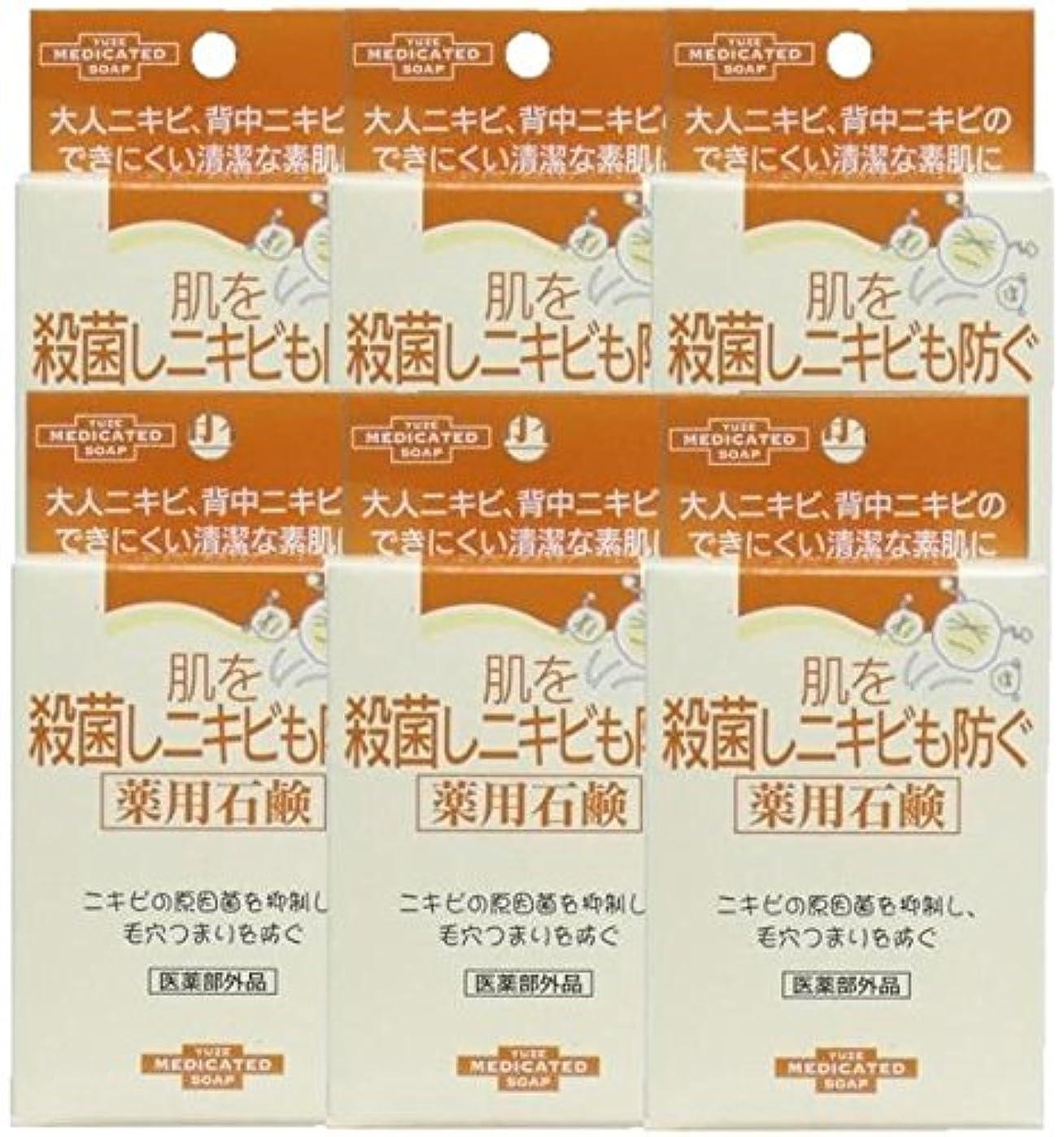 活気づくパン屋水を飲むユゼ 肌を殺菌しニキビも防ぐ薬用石鹸 (110g)×6個セット
