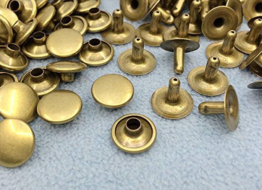 罰する無能付属品1543● クラフト金具 片面カシメ 頭径10mm 足8mm アンティークゴールド(真鍮古美) 100個入り 使いやすい 良い品質
