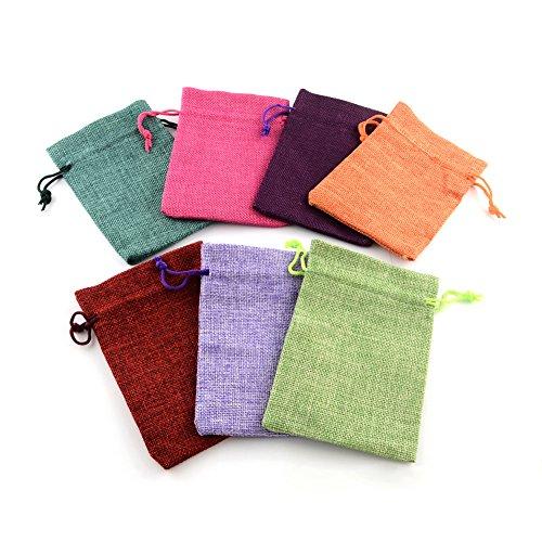 PandaHall 10枚セット ミックス 和風 コットン 麻 布 巾着袋 ラッピング袋 ギフトラッピング ジュエリーポーチ バッグ プレゼント用 収納袋 混合色 14x10cm